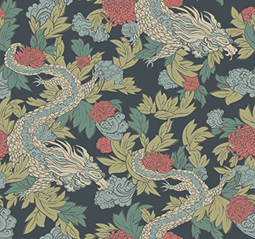 Dwell Studio Ming Dragon Wallpaper Blue