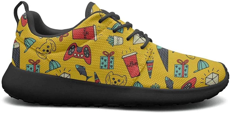 Opr7 Yellow Diamond Cartoon Lightweight Running shoes Mens Sneaker Lace-Up Comfort