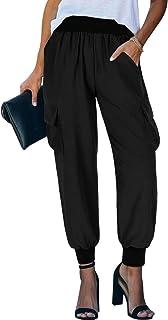 NIMIN Womens Sweatpants Loose Elastic Waist Cargo Pockets Sporty Gym Athletic Fit Jogger Pants Yoga Lounge Trousers