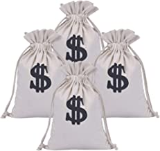 Drawstring Money Bag, Uspacific 4 Pcs Dollar Sign Design Canvas Drawstring Closure Bags for Toy Party Favors Bank Robber Themed Party