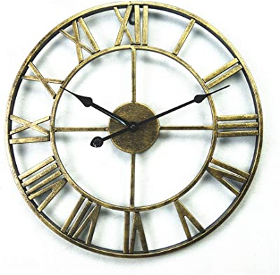 SEEKSUNG Wall Clock, 18-inch European Round Vintage Wrought Iron Wall Clock, Wall