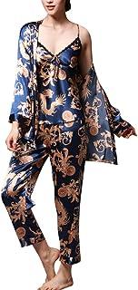 Womens Pyjama 3 Piece Set Nightwear Satin Long Soft Sleepwear