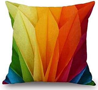 Andreannie Bright Rainbow Colored Weave Dynamic Design Home Cotton Linen Throw Pillow Case Personalized Cushion Cover New ...
