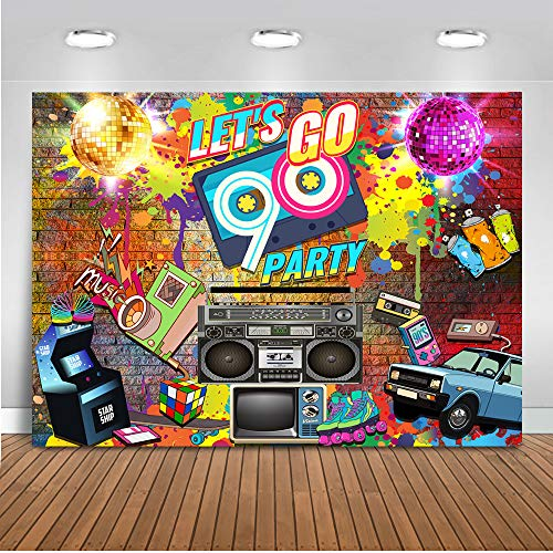 Mehofoto 90's Party Backdrop Graffiti Hip Pop Neon Glow 90s Background 7x5ft Vinyl Graffiti Wall Music 90th Themed Party Banner Decoration
