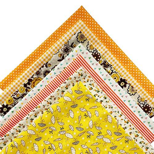 YXJD 7 Stück Baumwollstoff 50x50cm Patchwork Stoffe DIY Gewebe Quadrate Baumwolltuch Stoffpaket zum Nähen mit vielfältiges Muster (Gelb)