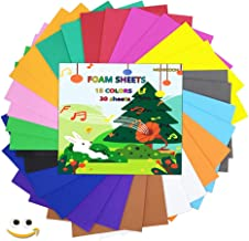 MEARCOOH EVA Foam Craft Sheets Paper Set Pack of 30pcs(15 Colors,20x20cm,Thickness:2mm) for Craft Projects,Kids DIY Projec...
