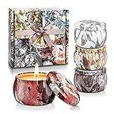 TOFU 4 Velas Perfumadas de Regalo[100% Natural], Regalos Originales para Mujer, Velas Aromaticas para Decoración 120-144 Horas de Hogar, Baño, Yoga, SPA, Regalos San Valentin, Aniversario, Navidad