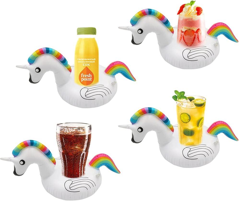 Unicornio Flotante Inflable Brillo Unicornio Posavasos Inflables para Piscina Estantes de Cerveza Flotantes Juguetes de Playa de Verano para Adultos y Niños (Posavasos)