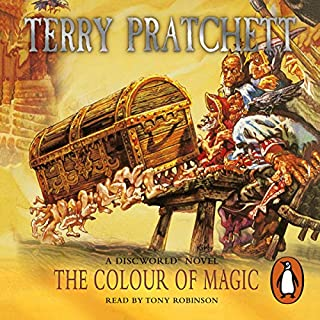 The Colour of Magic     Discworld 1              By:                                                                                                                                 Terry Pratchett                               Narrated by:                                                                                                                                 Tony Robinson                      Length: 3 hrs and 4 mins     42 ratings     Overall 4.4
