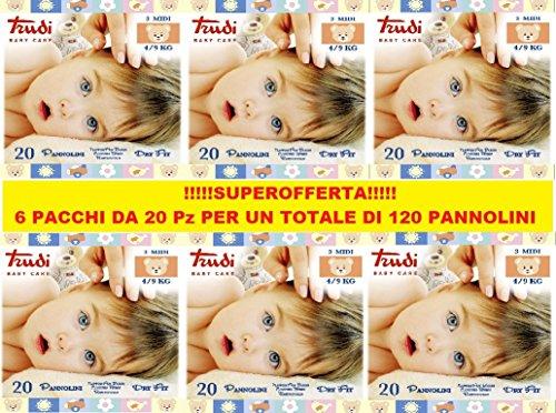 PANNOLINI TRUDI BABY CARE MIDI 4/9 Kg • 20 PANNOLINI CONFEZIONE 6 PZ