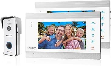 TMEZON WIFI 7 Inch 1080P Smart IP Wireless Video Doorbell Intercom System Entry Door Phone 2x Montior with 1200TVL Wired D...