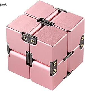 JEYKAY 2018 New Aluminium Alloy Infinity 17 Col Fidget Cube Infinity Cube,Fidget Cube for Stress and Anxiety Relief/ADHD,Ultra Durable (Pink)