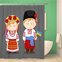 Awowee Bathroom Shower Curtain Ukrainians in National Dress Flag Man and Woman Traditional Costume Polyester Fabric 60x72 inches Waterproof Bath Curtain Set with Hooks