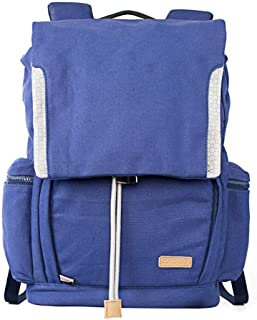 Manufacturer Fashion Blue Knapsack Mens Rucksack Photography Camera Canvas Backpack (Color : Blue, Size : S)