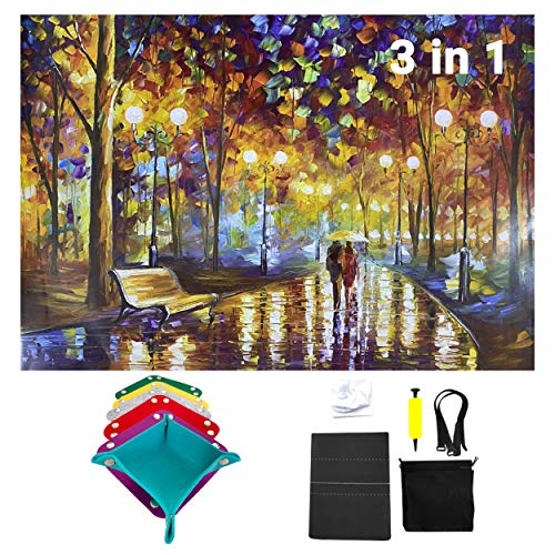 MEHSOM Jigsaw Puzzle 1000 Pieces for Adults, Rainy Night Walk Jigsaw Puzzle, 3 in 1 Jigsaw Puzzle, Puzzle roll up mat Storage and Felt Sorting Trays,Jigroll up to 1500 Pieces, 26.75