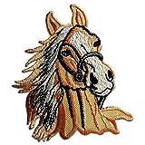 Toppe termoadesive - cavallo stallone animale - diversi colori selezionabili - 7,3 x 9 cm - by catch-the-patch® Patch Toppa ricamate Applicazioni Ricamata da cucire adesive, Farbvariante:beige