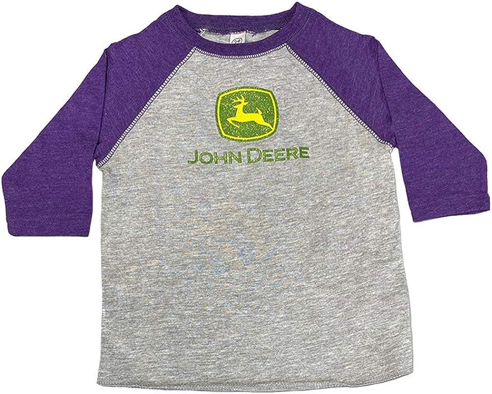 John Deere Toddler Girl Logo 3/4 Sleeve Raglan-Oxford/Purple