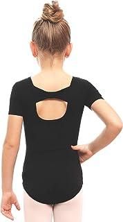 STELLE Girls Bow Back Short Sleeve Leotard for Dance, Gymnastics and Ballet