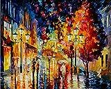 YWOHP Arte de Pared Pop Moderno Pareja romántica día lluvioso Escena de la Calle Cartel Lienzo Pintura para decoración de Sala de Estar Pintura 40X50cm_Unframed_DM469-5