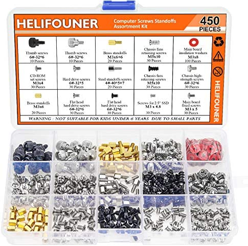 HELIFOUNER 450 Pieces Computer Standoffs Spacer Screws Assortment Kit for Hard Drive Computer product image