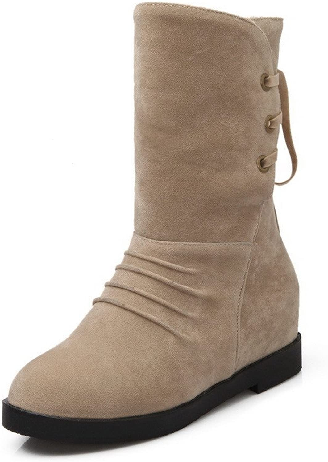 AllhqFashion Women's Lace up Kitten Heels Imitated Suede Solid Mid Top Boots