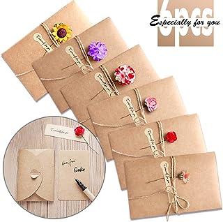 Tarjeta de Felicitación, Papel Kraft Retro Hecho a Mano Sobres en Blanco, Flores Secadas Postal Decorada para Navidad Cumpleaños Día de San Valentín Día de la Madre 6 Packs