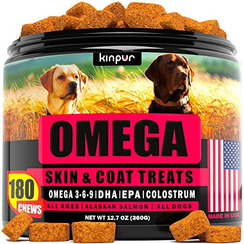 Kinpur Omega Fish Oil for Dogs - Itch Relief for Dogs and Anti-Shedding - Best Skin and Coat Supplement - Dog Vitamins for Allergies, Joint Health, Immunity with EPA and DHA- Omega 3 Dog Chews