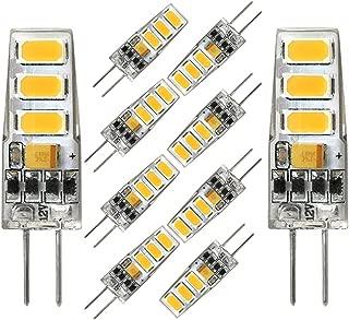 G4 LED Light Bulb G4 Bi-pin Base Mini T3 2 Watt G4 Bulb Equivalent to 20W Halogen Bulb, AC/DC 12V Warm White 3000K Light Bulbs for Landscape Lighting, Home Lighting, Non-dimmable (10 Pack)