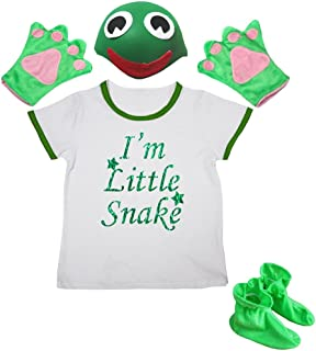 I'm Little Snake Shirt Green Hat Glove Shoes Girl 4pc Costume 1-8y