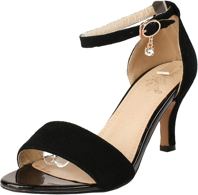 KIKIVA Women Open Toe Kitten Heel Sandals Ankle Strap Summer shoes