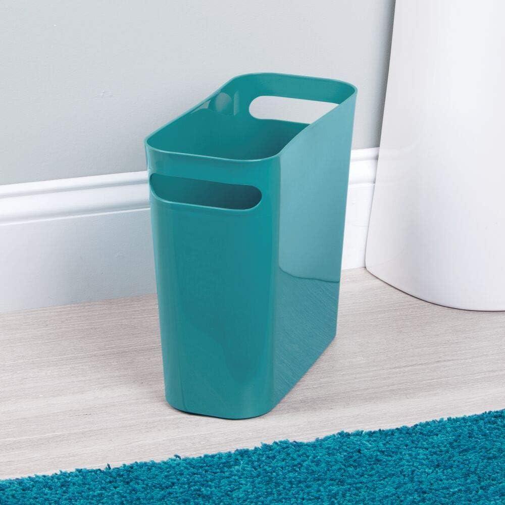 Buy Mdesign Slim Plastic Rectangular Small Trash Can Wastebasket Garbage Container Bin With Handles For Bathroom Kitchen Home Office Dorm Kids Room 10 High Shatter Resistant Teal Blue Online In Slovakia B01myu38af