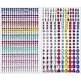 Brillantes Pegatinas Diamantes Autoadhesivas Joyas Cristalino para Cara Ojos Niños DIY Tarjetas de Artesanía Adorno Decoraciones (2 Hojas / 930 Piezas)