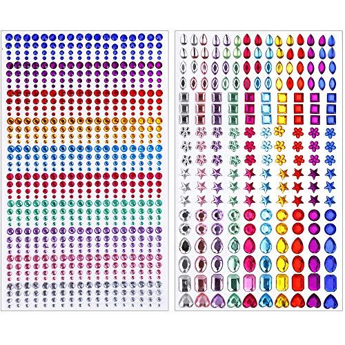 Rhinestone Stickers for Kid Craft, Self-Adhesive Crystal Gem 10 Colors, Diamond Jewels Stickers for Face, Nail, Eye, Scrapbook Embellishment Decoration (2 Sheets/ 930 PCS)