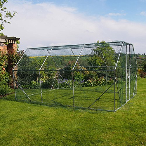 Walk In Dog Kennel Pen Run Outdoor Exercise Cage Measuring in a large size of 4m x 3m x 2m (13.1 x 9.8 x 6.6ft) a generous 18sq m (193sqft) of provides very reasonable space for your dog to stretch their legs, 25mm Galvanised steel tube – 0.8mm Wall thickness. 25 x 25mm, 1.1mm thick wire, pvc coated hexagonal wire mesh. UV Stabilised Polyester Fabric Roof sold Separately. Door lock