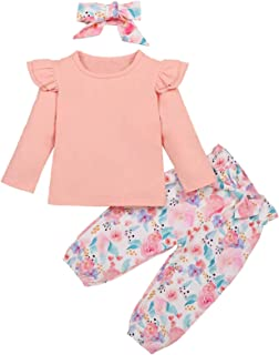 Toddler Baby Girl Floral Outfits Solid Color Ruffle Long Sleeve Top+Bowknot Pants+Headband 3Pcs Fall Winter Clothes