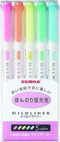 Zebra Mildliner WKT7–5C lot de 5 marqueurs fluorescents 5 couleurs