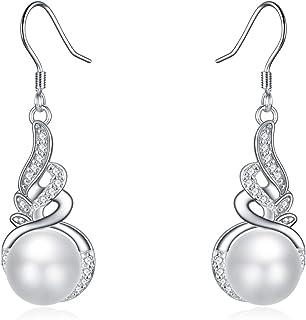 925 Sterling Silver Pearl Drop Earring White Pearl Dangle Earrings with Angel Wing Cubic Zirconia Silver Dangle Earring fo...