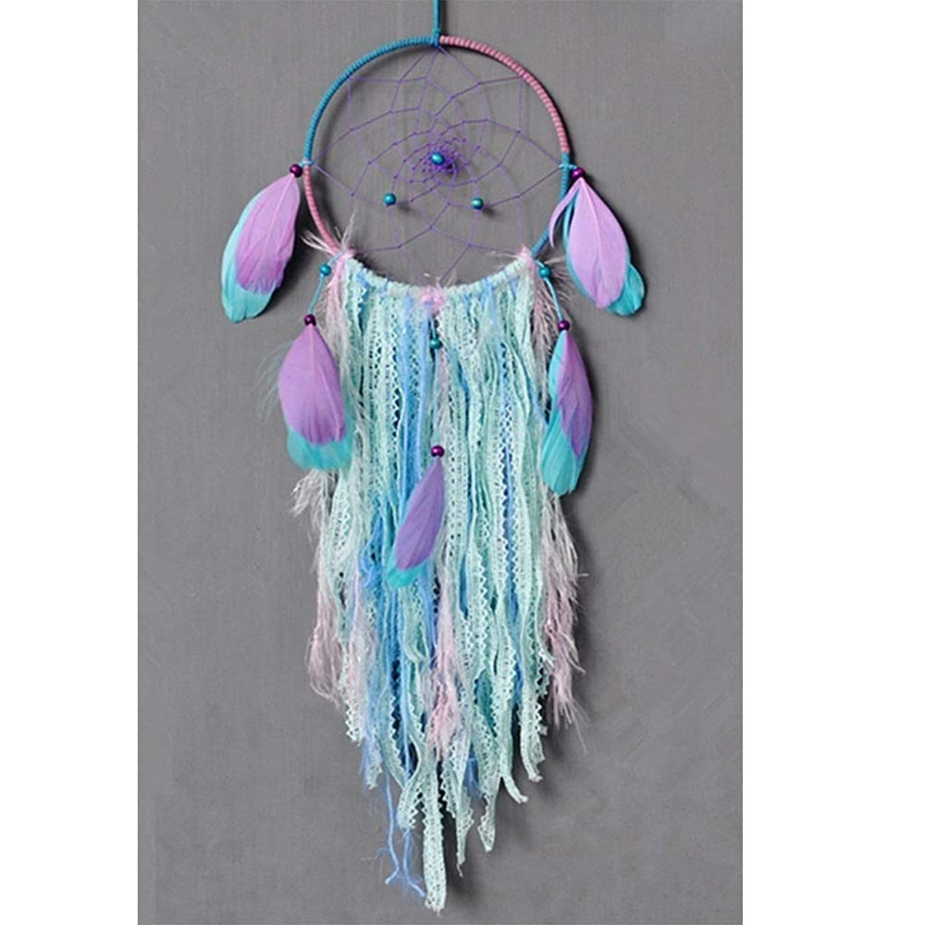 Dream Catcher Handmade Traditional White Feather Wind Chime Wall Hanging Home Decoration (Purple Bohemia Dream Catcher)