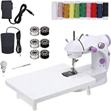 CHARMINER Mini Sewing Machine with Extension Table, Portable Adjustable 2-Speed 2-Thread Sewing Machine with Lights, House...