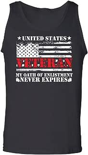 Teechopchop US Veteran My Oath Enlistment Has No Expiration Date Proud American Flag Tank Top
