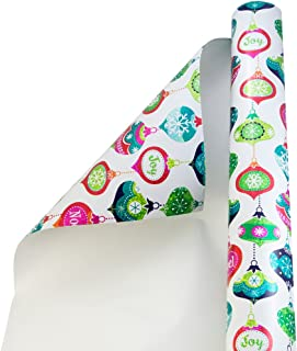 JAM PAPER Wide Gift Wrap - Christmas Wrapping Paper - 40 Sq Ft - Glittering Ornaments - Roll Sold Individually