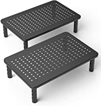 2 Pack Premium Laptop PC Monitor Stand with Sturdy, Stable Black Metal Construction. Fashionable Riser Height Adjustable w...