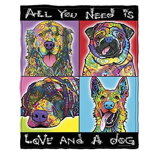 Dawhud Direct Dean Russo Love and a Dog Golden Retriever German Shepherd Pug Savvy Lab Super Soft Plush Fleece Throw Blanket