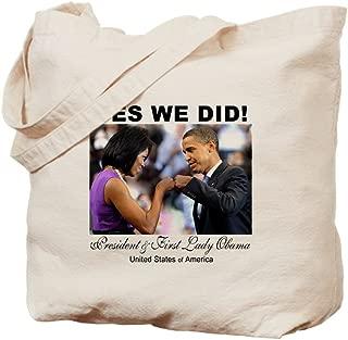 CafePress Obama Fist Bump Natural Canvas Tote Bag, Reusable Shopping Bag