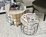 Intimo Living Beistelltische aus Schwarzmetall und MDF-Holz Platte im 2er Set - Couchtisch im Vintage Stil bis 20 kg belastbar - Korbtisch rund mit Stauraum auch für den Garten - 2X...