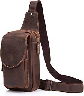 SRY-Bags Men's Vintage Leather Chest Bag Men's Crazy Horse Leather Messenger Bag Sports Leisure Leather Shoulder Bag (Color : Brown, Size : M)