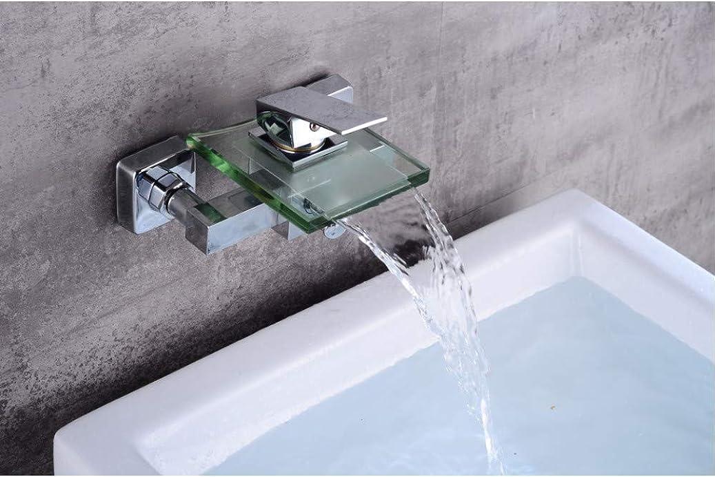 集中苦しむふりをする送料無料真鍮とガラスの蛇口滝浴槽の蛇口壁掛け浴室のミキサータップ現代デザイン