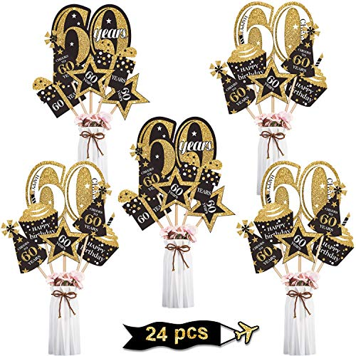 Blulu Geburtstag Party Dekoration Set Goldene Geburtstagsparty Herzstück Sticks Glitter Tischdekoration für. Geburtstagsparty Lieferungen, 24 Packungen (60 Jahre Geburtstag)