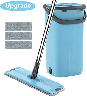Squeeze Flat Mop Bucket System - Hand Free Dry Wet Self Wringing Floor Cleaning Kit,360 Degree Rotation Stainless Steel Telescopic Pole Handle,3 Reusable Microfiber Pads
