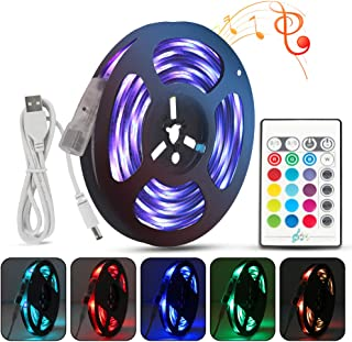 LIGHTSTRIP LED Strip Lights 6.6ft/2M Music Sync RGB 5050 Waterproof USB DC5V Color Changing LED Strip Lights with Remote for TV Backlight Bedroom Room Party DIY Home Decorations